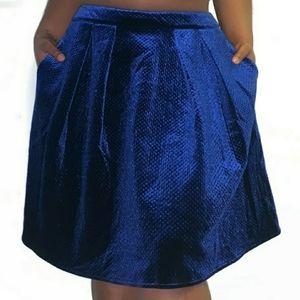 ➕ Worthington 💜 Velvet Royal Navy Blue Skirt